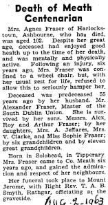 Obituary for Agnes McDowell Fraser