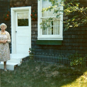 Jane in front yard c.r.