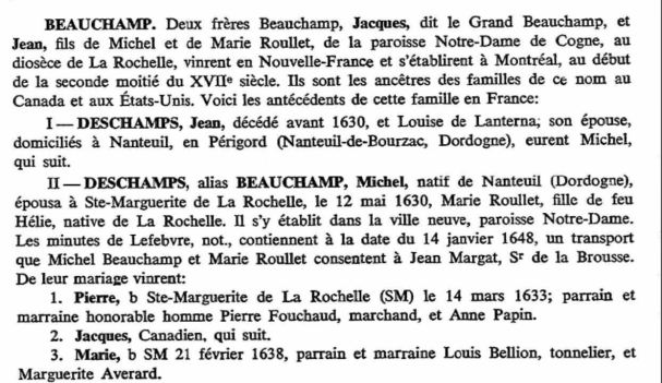 Beauchamp Family-Emigration Rochelais Un Nouvelle France