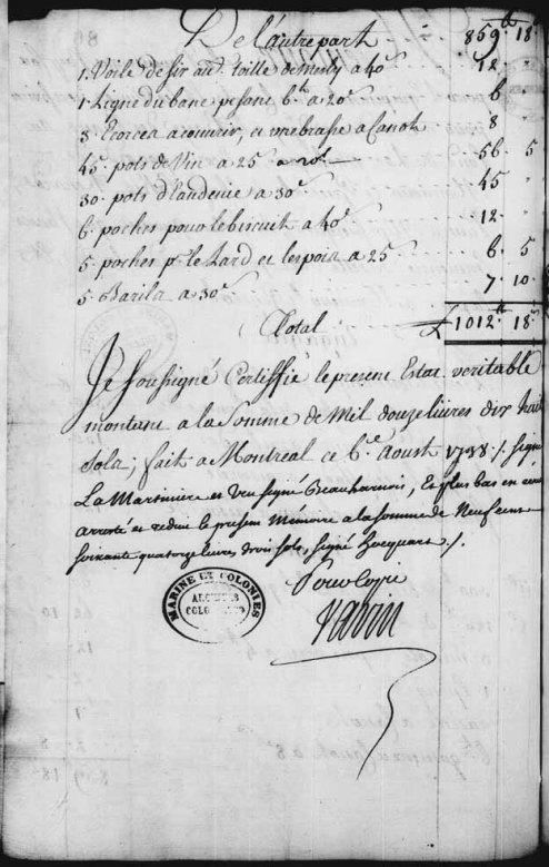 Francois B. Voyageur Contract 1748