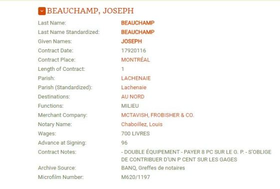 Joseph Beauchamp contract with McTavish Frobisher (Mackenzies Voyage)